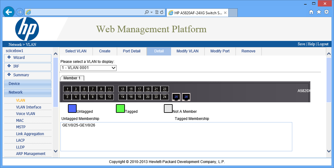 Configure switch HP 5820X - Static IP, Web access and VLAN