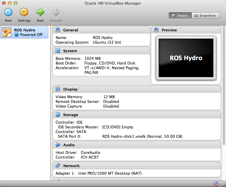 ROS Installation in VirtualBox for MAC OS X